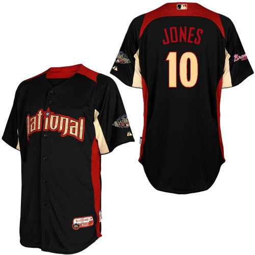 10 Majestic Bp 2011 Jersey Braves All-star Chipper - Men's National com Black Estategl Mlb Authentic Jones Atlanta League